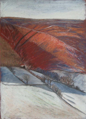 Painting titled Snow in Llanthony by Clare Whitehead