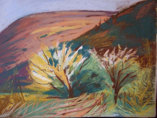 Painting titled Spring in Llanthony by Clare Whitehead