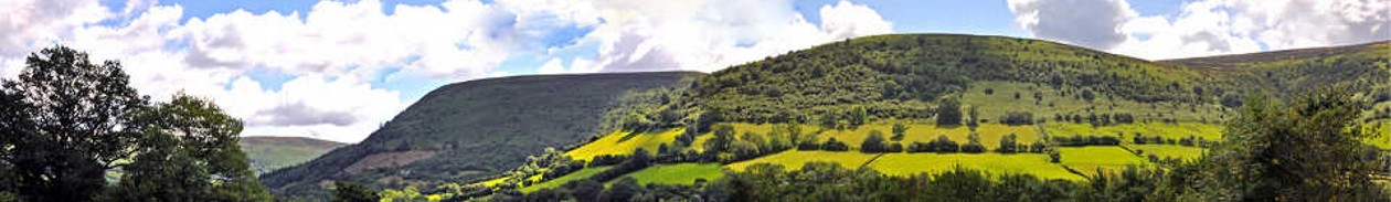 Panoramic view of Llanthony Valley from Broadley Barn Cottages